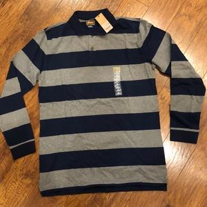 Foundry Gray & Blue Striped Rugby Shirt LT